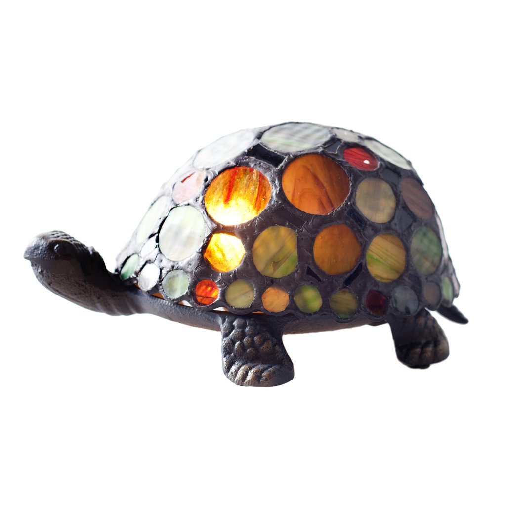 3.5''H Stained Glass Spotted Turtle Accent Lamp