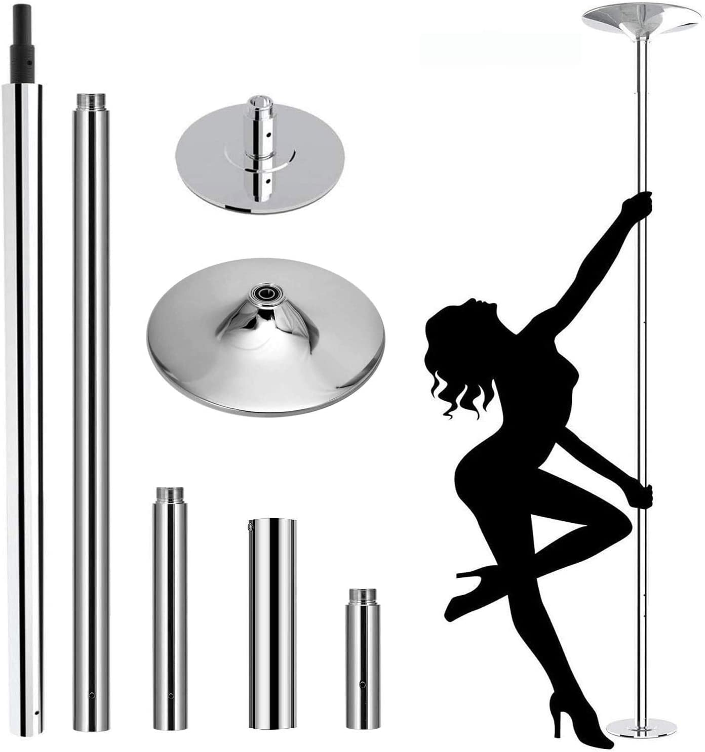 Van Alderman Dancing Pole 45mm Spinning Static Stripper Pole, Portable Removable Dance Pole Kit w/Tools for Beginner Professional Fitness Exercise Club Party Pub Home Gym