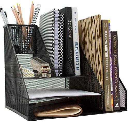 Black Wire Mesh Desk - Blu Monaco Black Wire Mesh Desk Organizer - Vertical File Organizer - Letter Tray - Inbox Organizer - All in One Office Desktop Organizer - Black Metal Mesh