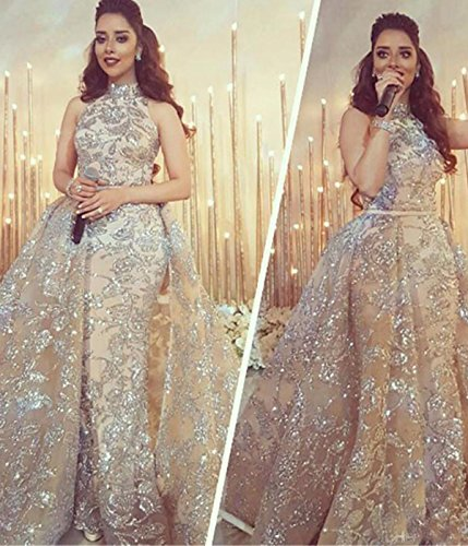 2d125bb14146 LUBridal Halter Sleeveless Silver Sequin Arabia Prom Dress with ...
