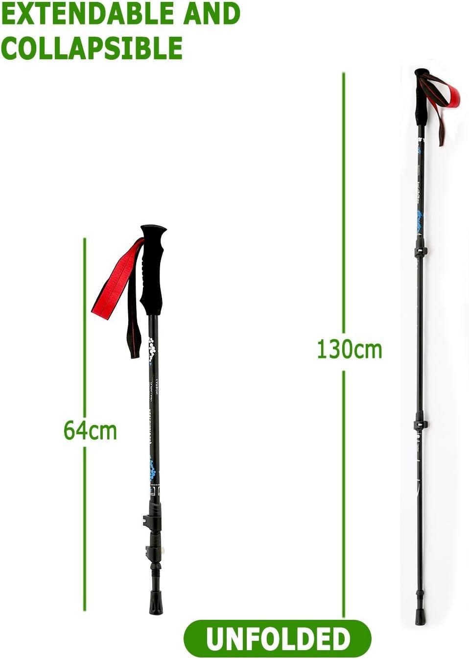 Barrageon Bastones de Senderismo Trekking Fibra de Carbono Plegable Durable Antichoque Ligero Longitud Ajustable 130 cm Al Aire Libre Escalada para Todo Terreno