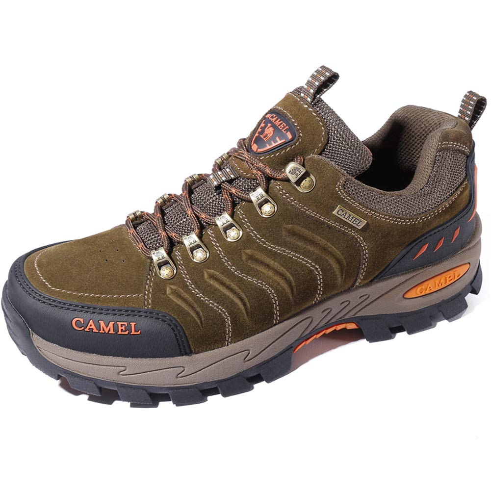 CAMEL CROWN Men's Hiking Shoes Nubuck Leather Outdoor Trekking Shoes Shockproof Breathable Water Repellent Hike Shoes for Walking Backpacking