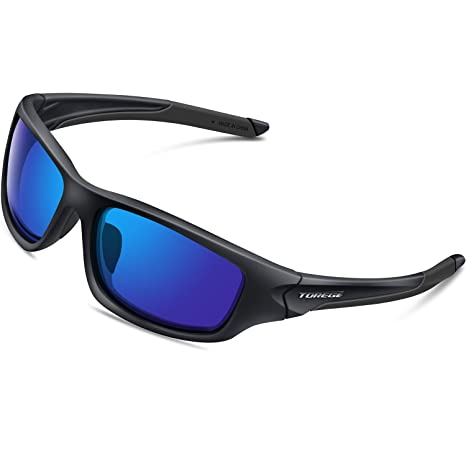 2c8cf011771 TOREGE Polarized Sports Sunglasses for Cycling Running Fishing Golf TR90  Unbreakable Frame TR011 (Black Blue)