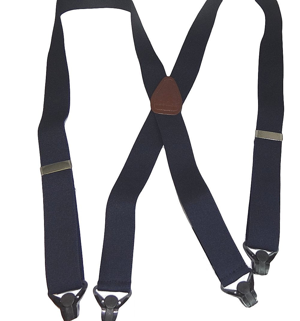 HoldUp All Black Snow Ski-Ups Suspenders in 1 1/2'' width with Patented black Gripper Clasps in X-back style