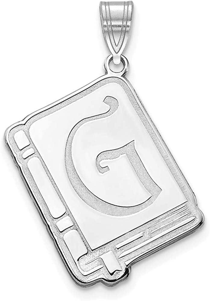16mm x 13mm Solid 925 Sterling Silver Initial Letter Book Alphabet Charm Pendant