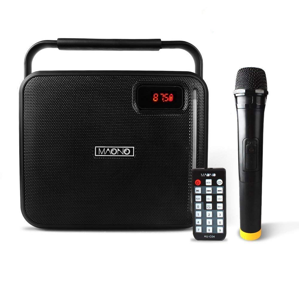 30W MAONO Wireless PA system with Two Wireless Handheld Microphones Karaoke Machine for Adults Kids FM Radio (Black) MN1009050301001