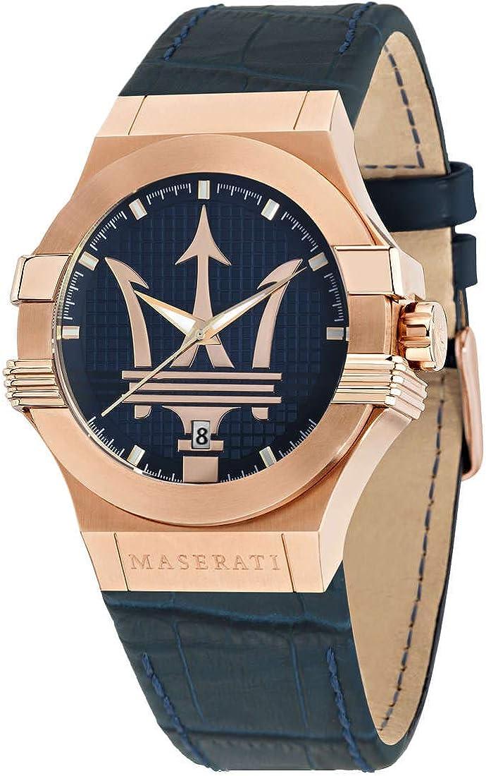 Reloj para Hombre, Colección Potenza, Movimiento de Cuarzo, Solo Tiempo con Fecha, en Acero, PVD Oro Rosa y Cuero - R8851108027