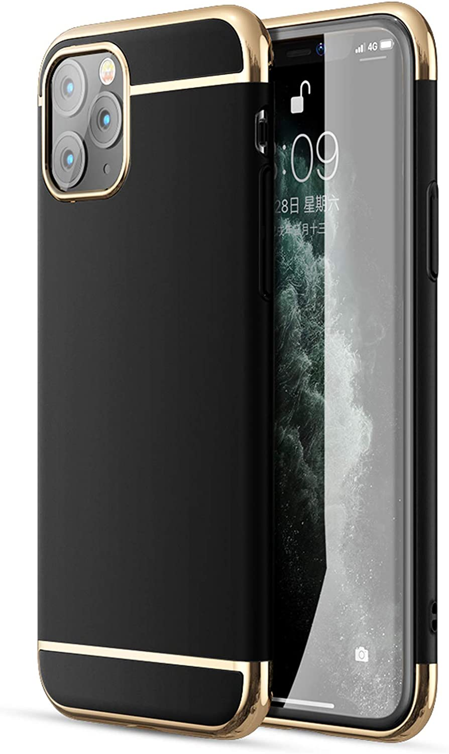 iPhone 11 Pro Max Case, CROSYMX 3 in 1 Ultra Thin and Slim Hard Case Coated Non Slip Matte Surface with Electroplate Frame for Apple iPhone 11 Pro Max (6.5'')(2019) - Black