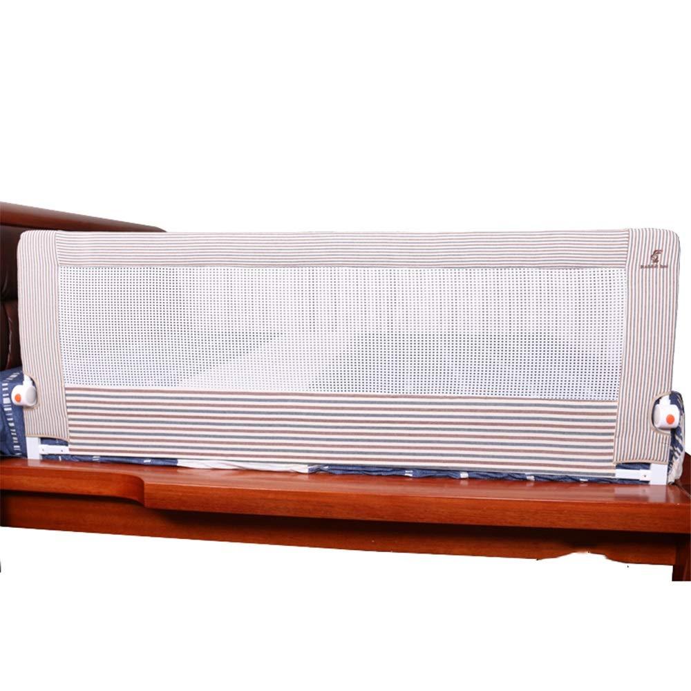XIAOMEI 子供の落下防止ベッドガードレールベッドフェンスフェンスレール1.5/1.8/2.0m ベッドの手すり (色 : Brown stripes, サイズ さいず : 1.5m) 1.5m Brown stripes B07J1WT6KP