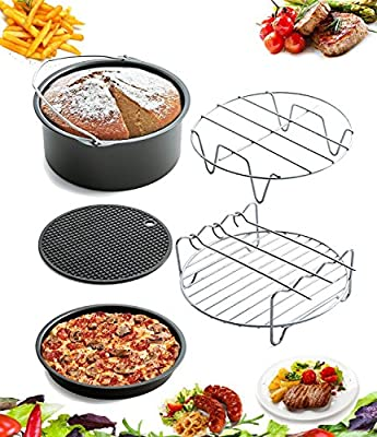 5 Piece Air Fryer Accessories by AIQI, Including Cake Barrel, Pizza Pan, Metal Holder, Skewer Rack and Silicone Mat for Gowise Phillips and Cozyna and More, Fit all 3.7QT - 5.3QT - 5.8QT