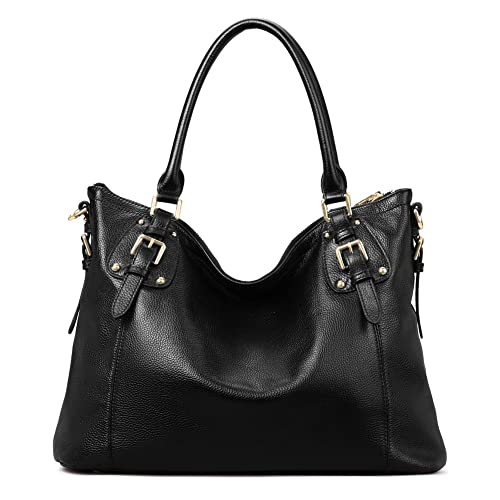 Amazon.com  Kattee Women s Vintage Genuine Leather Tote Shoulder Bag ... f01ff28094b6d