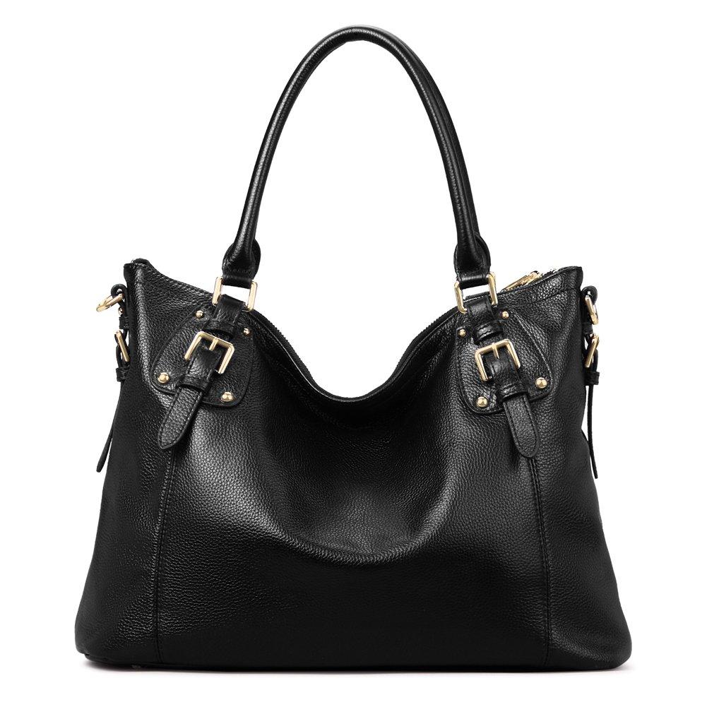 Kattee Women's Vintage Genuine Leather Tote Shoulder Bag (Black, Large)