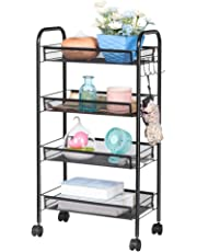 LANGRIA All Purpose Shelving Mesh Serving Kitchen Rolling Trolley with 5 Side Hooks Multifunctional Basket Utility Storage Cart Max Load Capacity 20kg Suitable for Home Office (Black)