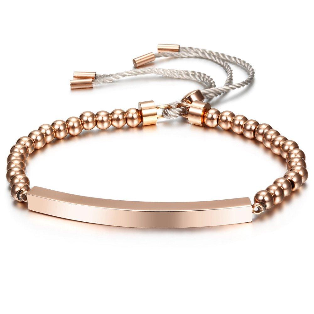 Joorria 14K Rose Gold Bar Bracelet Stainless Steel Bead Stretch bracelet for Women 6 inch to 8 inch(Rose Gold)