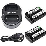 Batmax 2Pcs NP-FM50 Rechargeable Batteries(1800mAh) + USB Dual Charger for Sony NP-FM30 NP-FM51 NP-QM50 NP-QM51 NP-FM55H Battery and Sony M Type NP-FM50 Equivalent Camcorder / Digital Camera