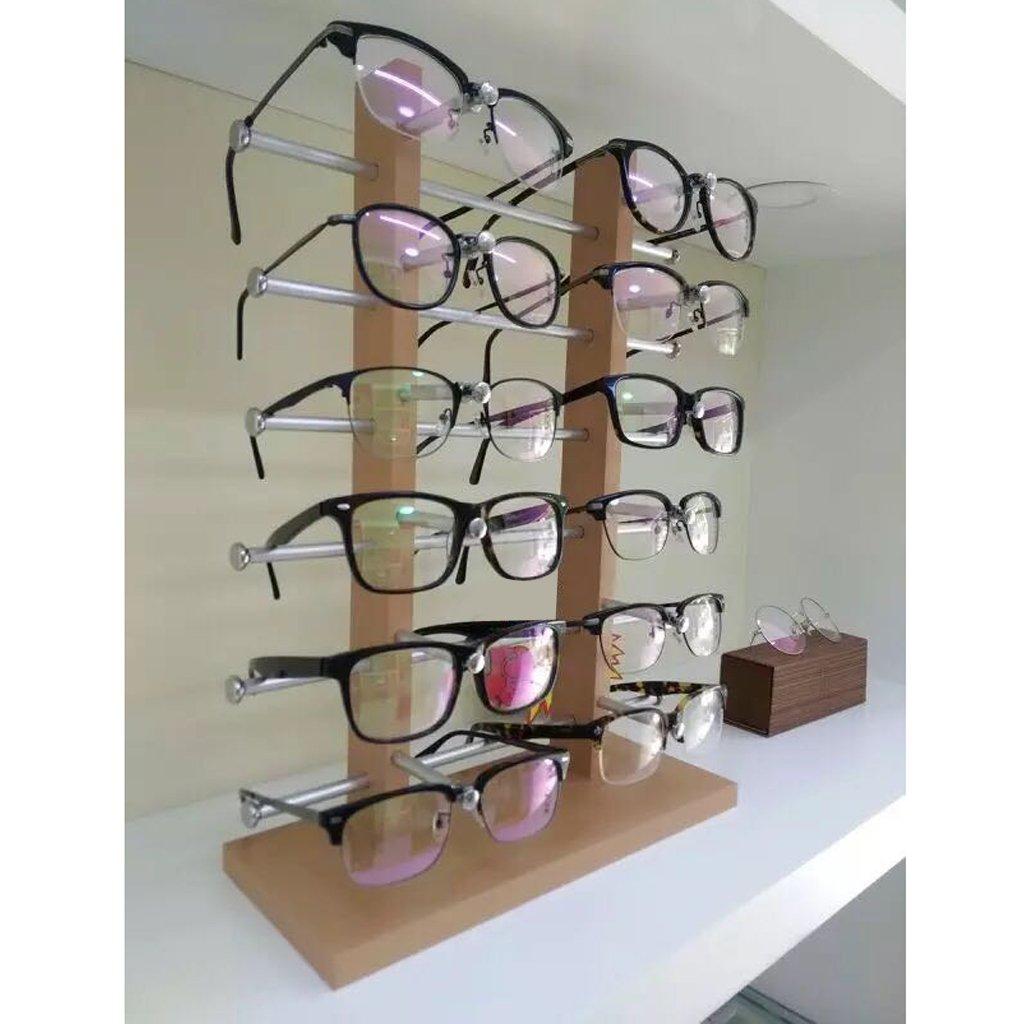7baf546cf1 Estante del Soporte Exhibición Organizador para Gafas de Sol Cristal Marco  Plata Madera - 6-Layer: Amazon.es: Juguetes y juegos
