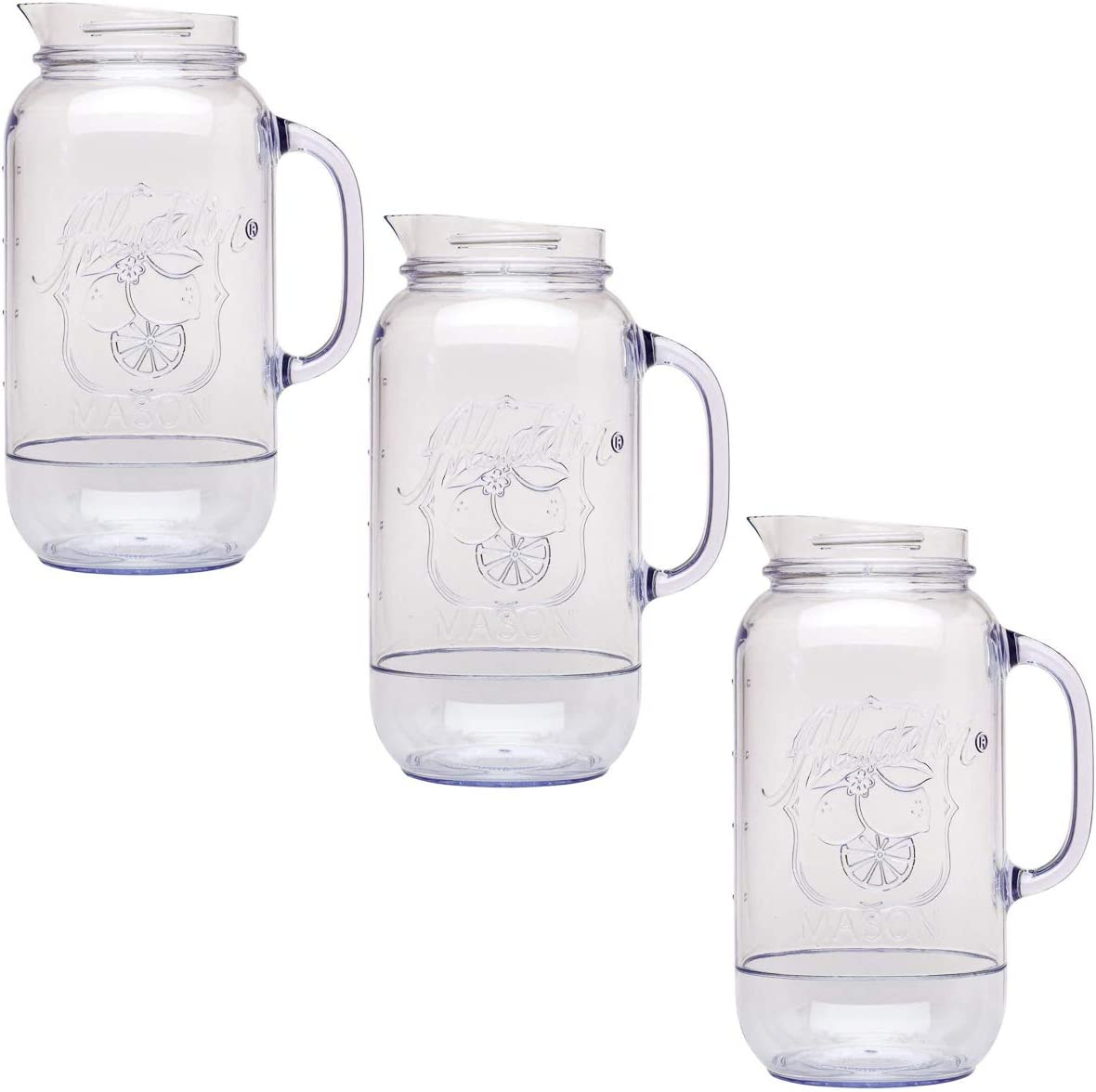 Aladdin (3 Pack) Mason Jar Pitcher, Carafe Set 2.5 Quart For Water Pitcher, Iced Tea Pitcher, Juice Pitcher, Lemonade Pitcher, Picnic, BBQ