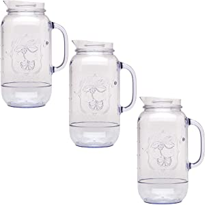 Aladdin (3 Pack) Mason Jar Pitcher, Carafe Set 2.5 Quart For Water Pitcher, Iced Tea Pitcher, Juice Pitcher, Lemonade Pitcher, Picnic, BBQ