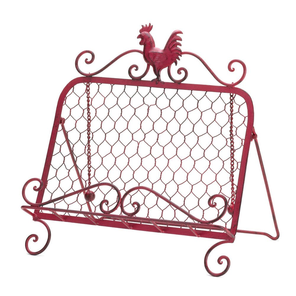 GHP Iron Decorative Metal Framework Red Rooster Kitchen Cook Book Stand Globe Warehouse