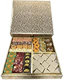 Sukhadia's Indian Sweets Gift Box, Festive Silver & Gold Padded Box, Premium Assorted Mithai