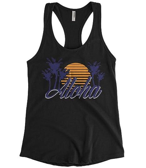 64bca037f2 Cybertela Women's Aloha Hawaiian Hi Sunset Palm Tree Racerback Tank Top  (Black, Small)