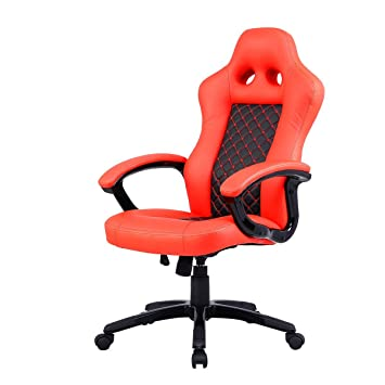 Amazon.com: Costway Bucket Seat Office Desk Chair High Back Race Car Style  Gaming Chair Orange: Kitchen U0026 Dining