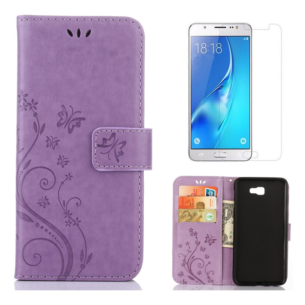 for Samsung Galaxy A5 2017 A520 Wallet Case and Screen Protector, OYIME [Butterfly Flower Embossed] Pattern Design Leather Holder Full Body Protection Bumper Kickstand Card Slot Function Magnetic Closure Flip Cover with Wrist Lanyard - Black