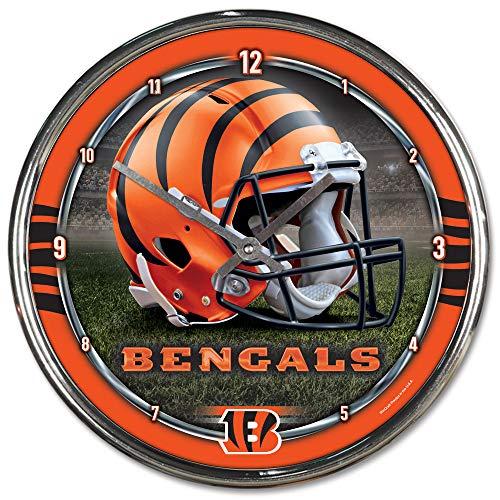 Nfl Football Team Chrome Wall Clock , Cincinnati Bengals , 12-Inch