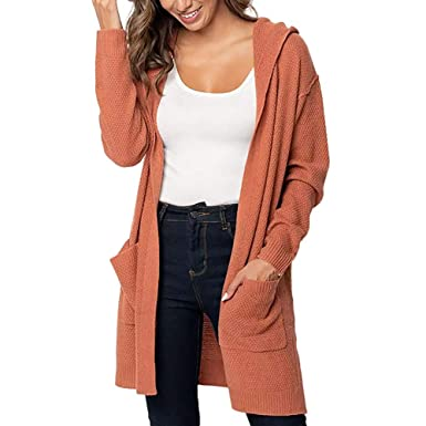 f14c1d19052 Image Unavailable. Image not available for. Color  DaySeventh Plus Size  Womens Long Sleeve Solid Pocket Cardigan Tops ...