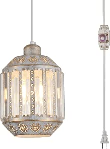 YLONG-ZS Hanging Lamps Swag Lights Plug in Pendant Light 16.4 FT Cord and Chain/Hanging Pendant Light Cage in-Line On/Off Dimmer Switch for Kitchen Island, Dining Room, Entryway