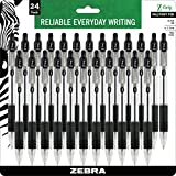 Zebra Z-Grip Retractable Ballpoint Pen, Medium Point 1.0mm, Black Ink, Clear Barrel, 24-Count