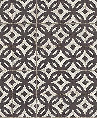 524710 - Urban Living Black & White Antique Floor Tile Galerie Wallpaper