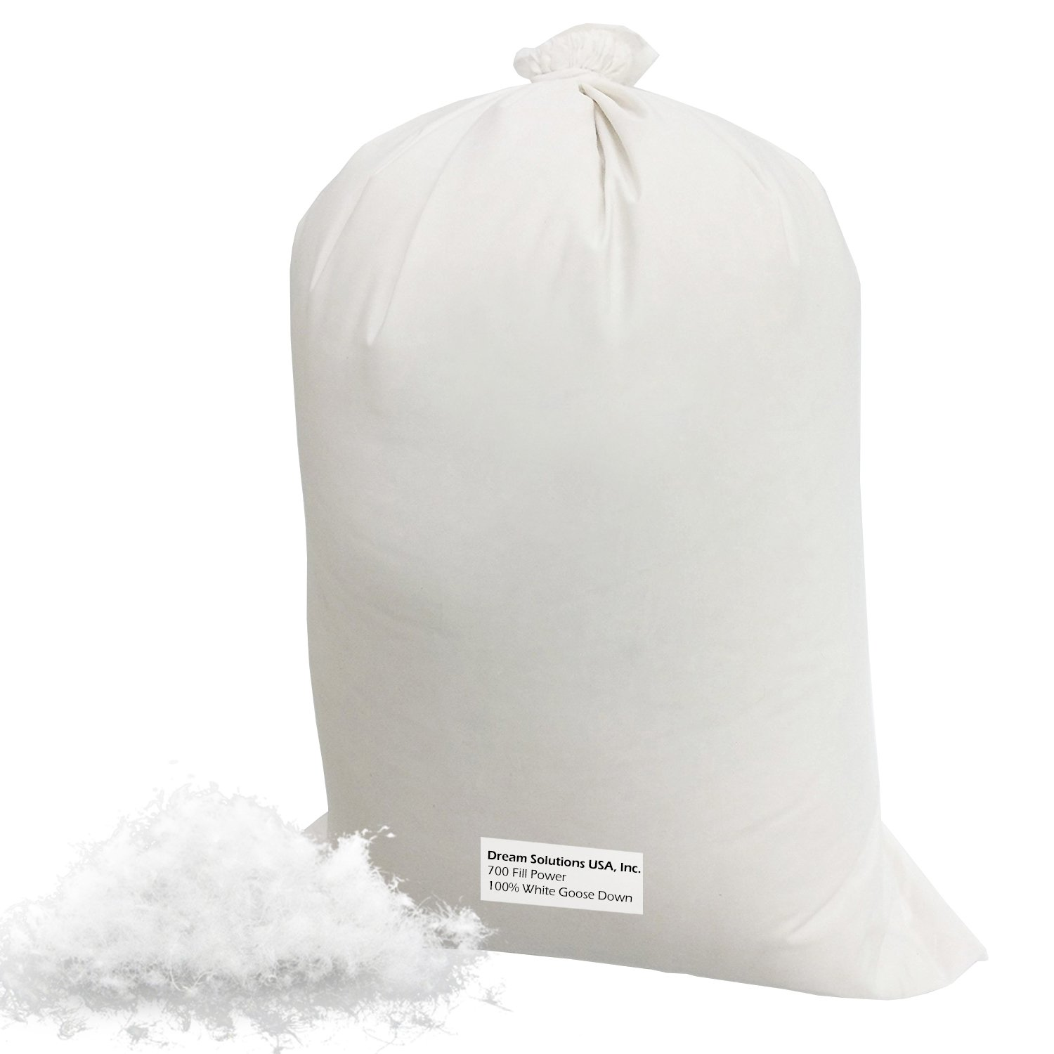 Bulk Goose Down Filling (1 lb.) 700 Fill Power – 100% Natural White, No Feathers – Fill Comforters, Pillows, Jackets and More – Ultra-Plush Hungarian Softness - Dream Solutions USA Brand GWD-1/2LB
