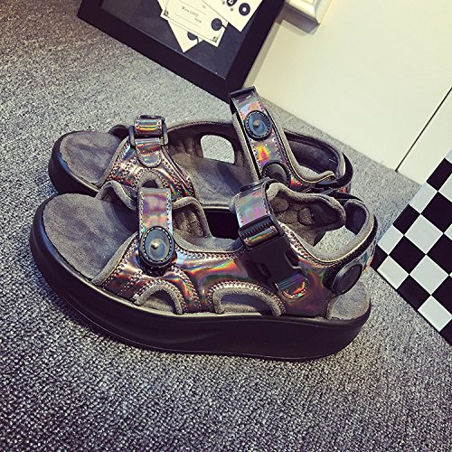 Xing Lin Leather Sandals Summer Silver Red Leisure With Rocking Shoes Muffler Thick Velcro Shoes Sandals Double strap brown CYNKgH