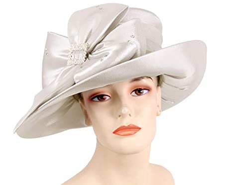 Ms Divine Women s Satin Year Round Church Hats Dress Formal Hats  HL3(Light  Silver 7b4d65462ad