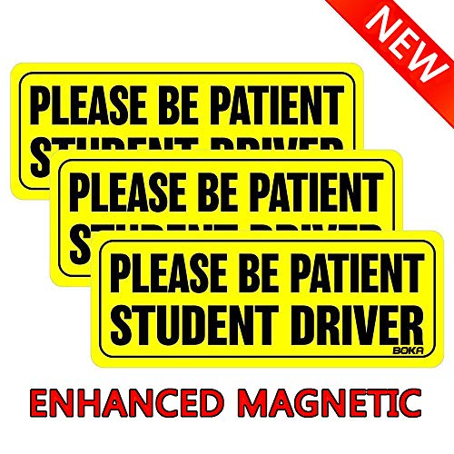 BOKA Student Driver Magnet Car Signs - Reflective Vehicle Bumper Magnet Set of 3 Magnetic Bumper Sticker for New Driver Novice in Yellow 0.8mm Strong Magnetic (Enhanced Edition)