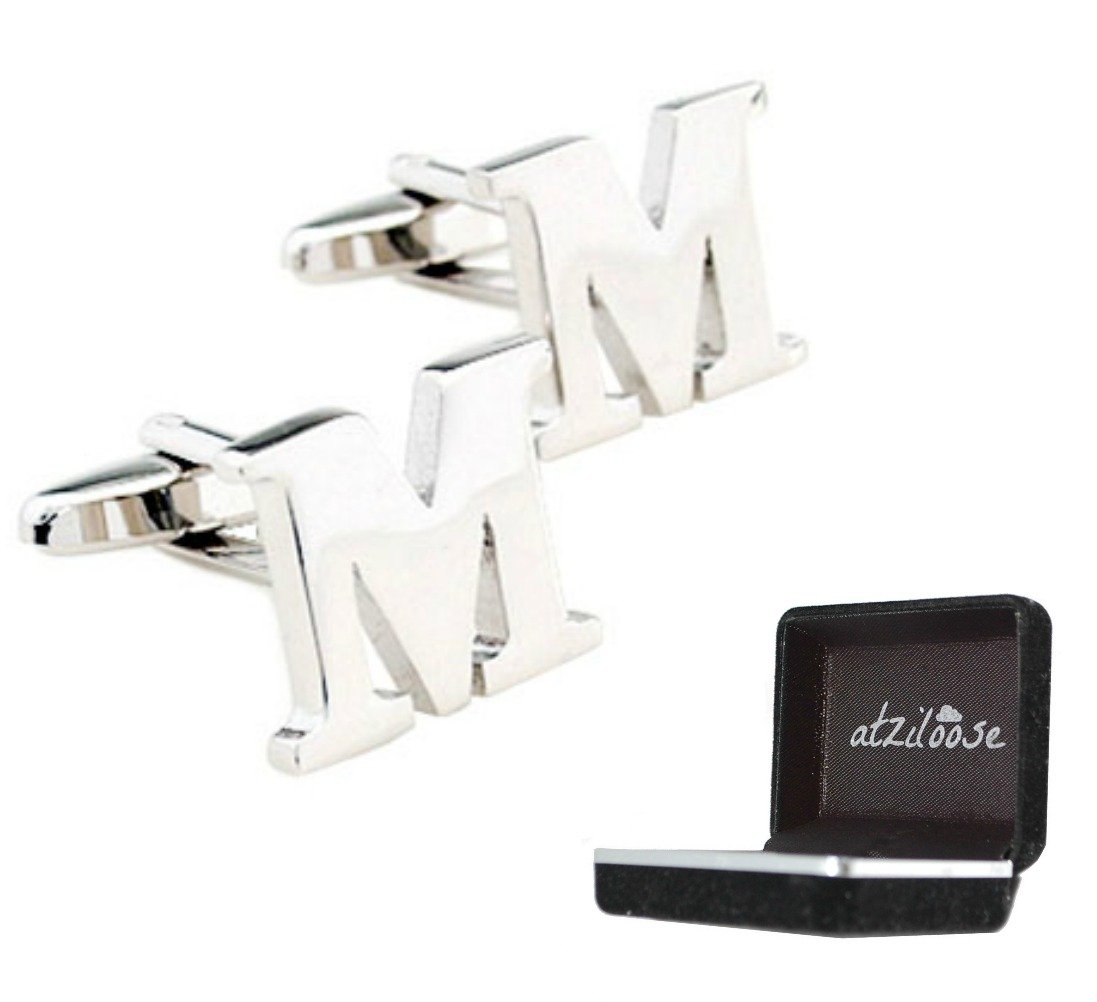 Atziloose Initial Cufflinks A-Z + Gift Box M for Dad