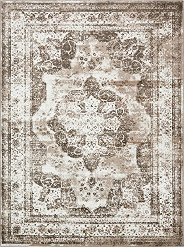 Traditional Persian Vintage Design Rug Light Brown Rug 8' 11 x 12' FT (366cm x 274cm) Sofia Area Rug Inspired Overdyed Distressed Fancy (Rugs And Turquoise Brown)