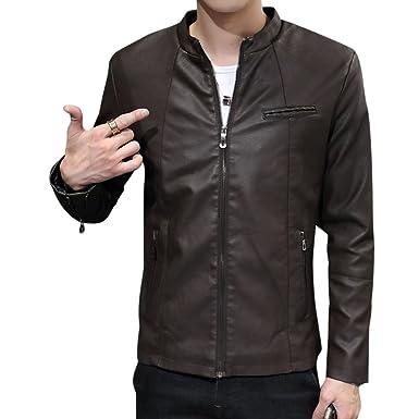 LaoZan Uomo Slim Fit Cappotti Giacchetta Basic Biker Giacche in Pelle PU  Cappotto Capispalla  Amazon.it  Abbigliamento ad231db7e41