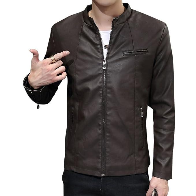 LaoZan Uomo Slim Fit Cappotti Giacchetta Basic Biker Giacche