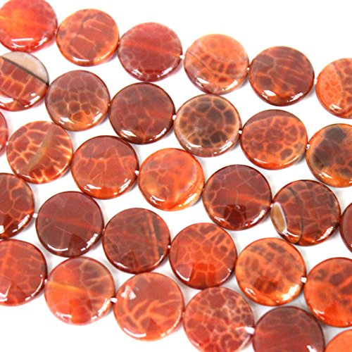fashiontrenda Faceted Natural Red Fire Agate Flat Coin Shape 16mm Gemstone Loose Beads