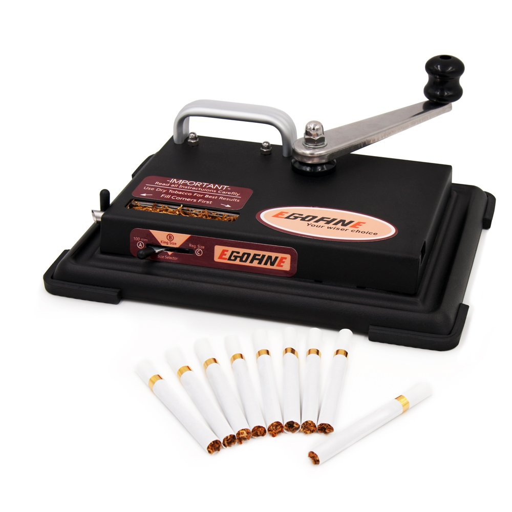Egofine Cigarette Rolling Machine, Hand Operation Tobacco Roller for King Size, 100mm Tubes, Regular (Black)