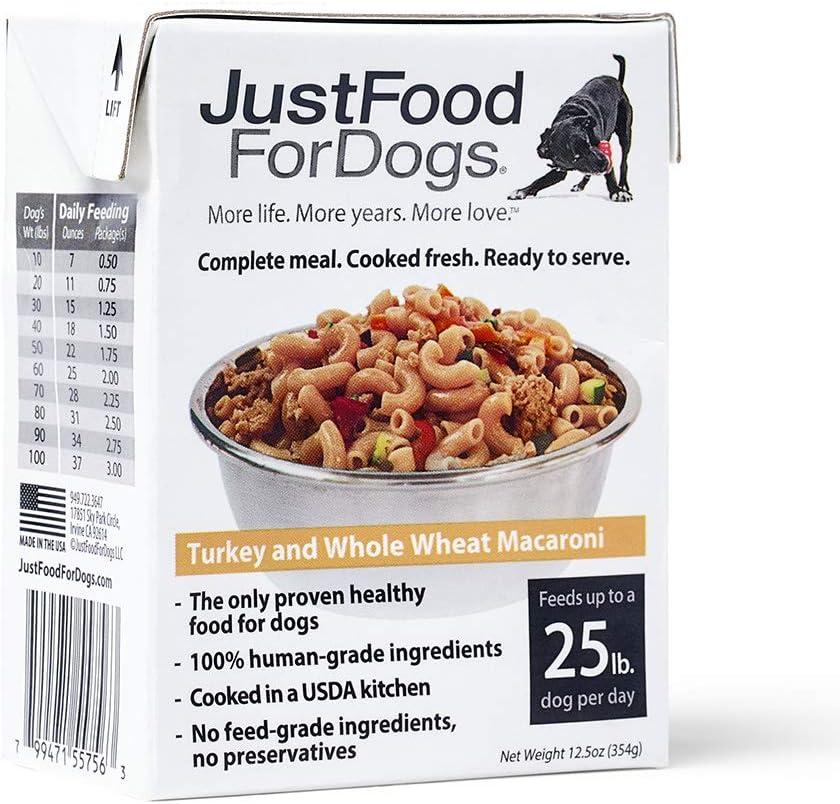JustFoodForDogs Pantry Fresh Human Edible Whole Grain Natural Ready to Serve Dog Food - Turkey & Whole Wheat Macaroni (Set of 6)