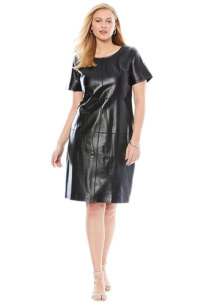 Jessica London Women\'s Plus Size Leather & Ponte Knit Sheath ...