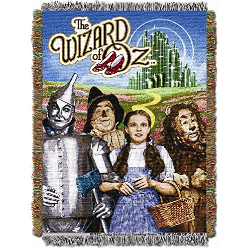 Wizard Of Oz Blankets - 1 Piece 48 X 60 Kids Blue Yellow Wizard Of Oz Theme Throw Blanket, Geometric Tin Man Scarecrow The Lion Dorthy Emerald City Soft Picnic Car Style Accent Bedding Couch Sofa Bedroom Bed, Polyester