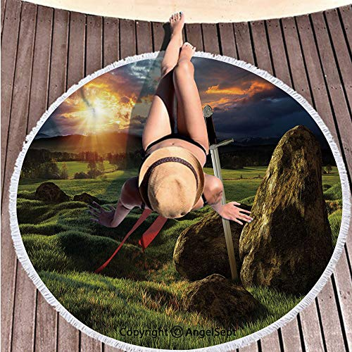 Large Microfiber Circular Blanket,Arthur Camelot Legend Myth in England Ireland Fields Invincible Sword Image Green Blue and Red,59 inches Diameter,Thick Round Beach Towel Outdoor