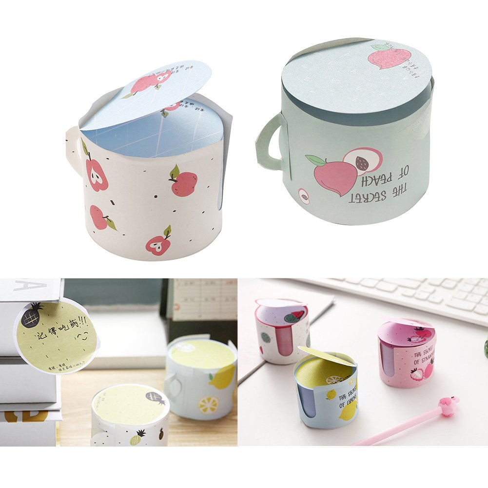 Aland Stylish Cup Shape Fruit Sticky Writing Note Bookmarks School Supplies Pineapple