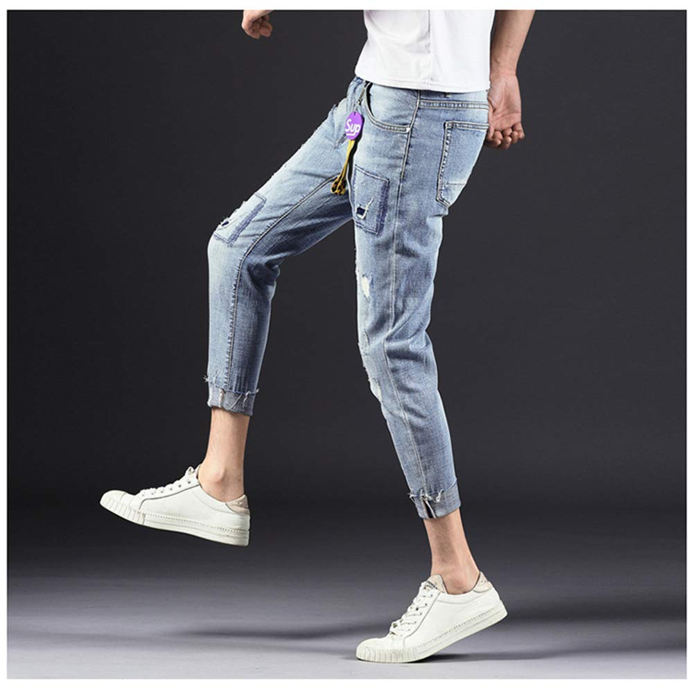 CHENSF Stretch Slim Comfortable Fitted Jeans Mens Straight Jeans