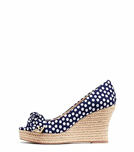 Tory Burch Dory Printed Peep Toe Wedge Espadrilles, Navy Sea, New Ivory  Nautical Dots