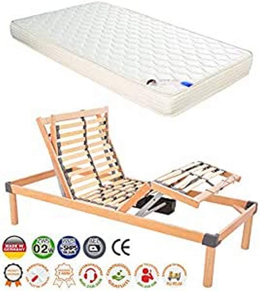 Somier eléctrico motorizado de Okin, realizado en madera más colchón de 80 cm x 190 cm